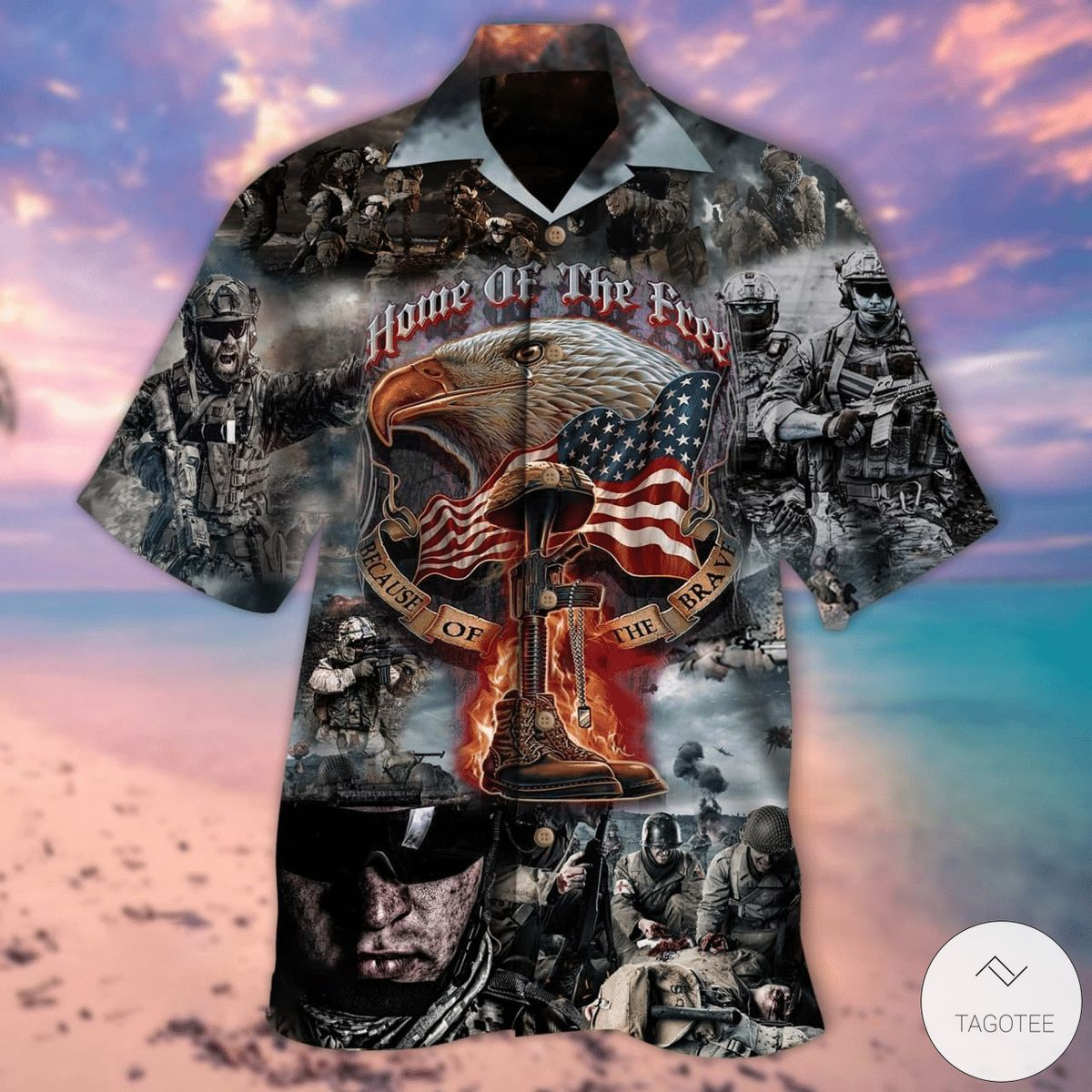 Home Of The Free Because Of The Brave US Military Hawaiian Shirt