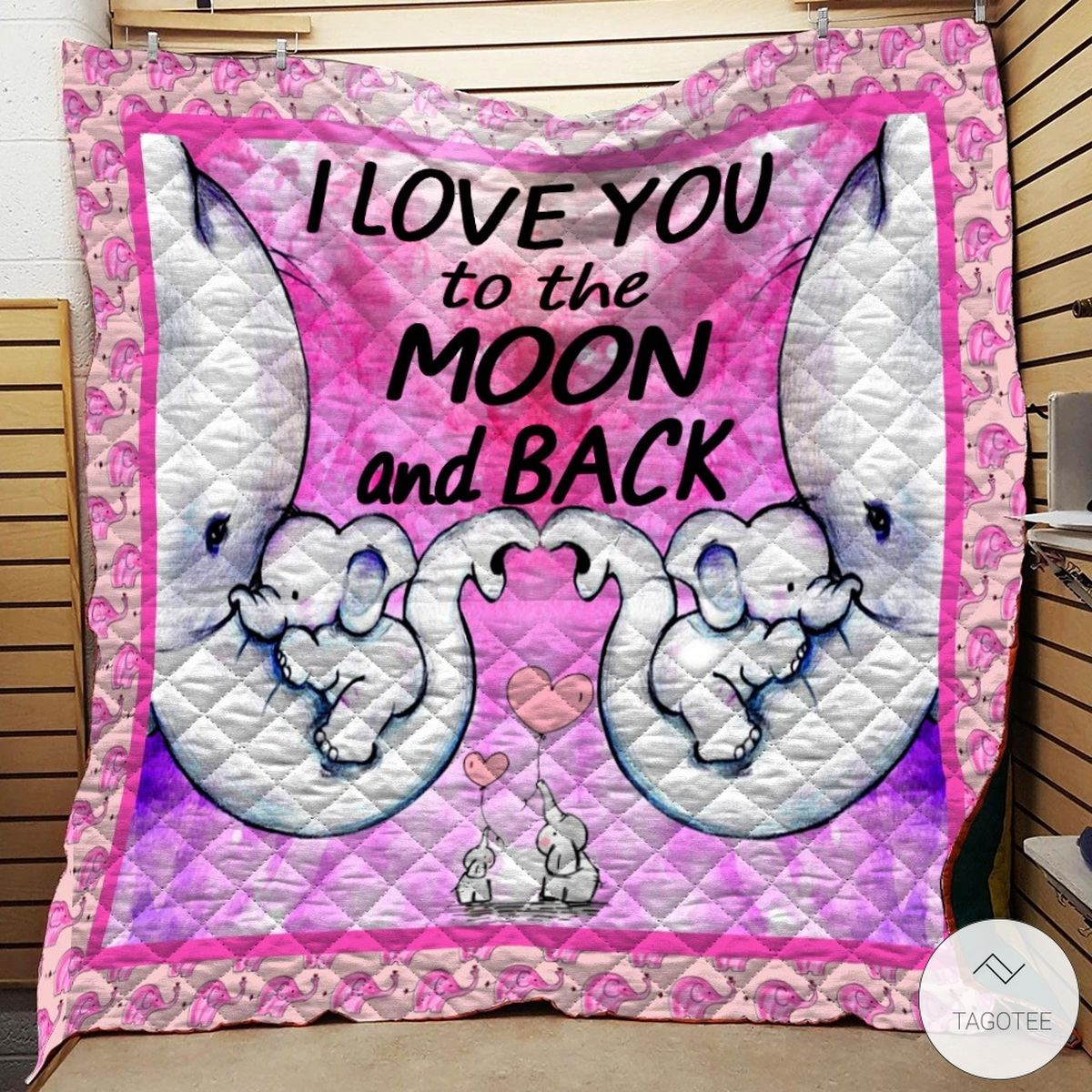 I Love You To The Moon And Back Elephant Family Quilt