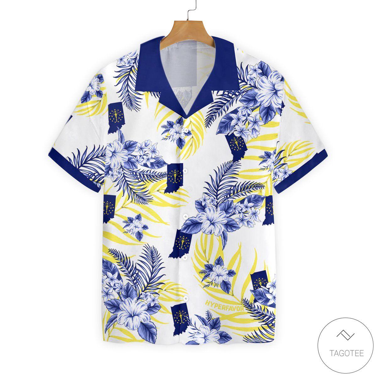 Indiana Proud Button Hawaiian Shirt