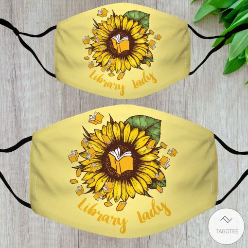 Library Lady Sunflower Face Mask