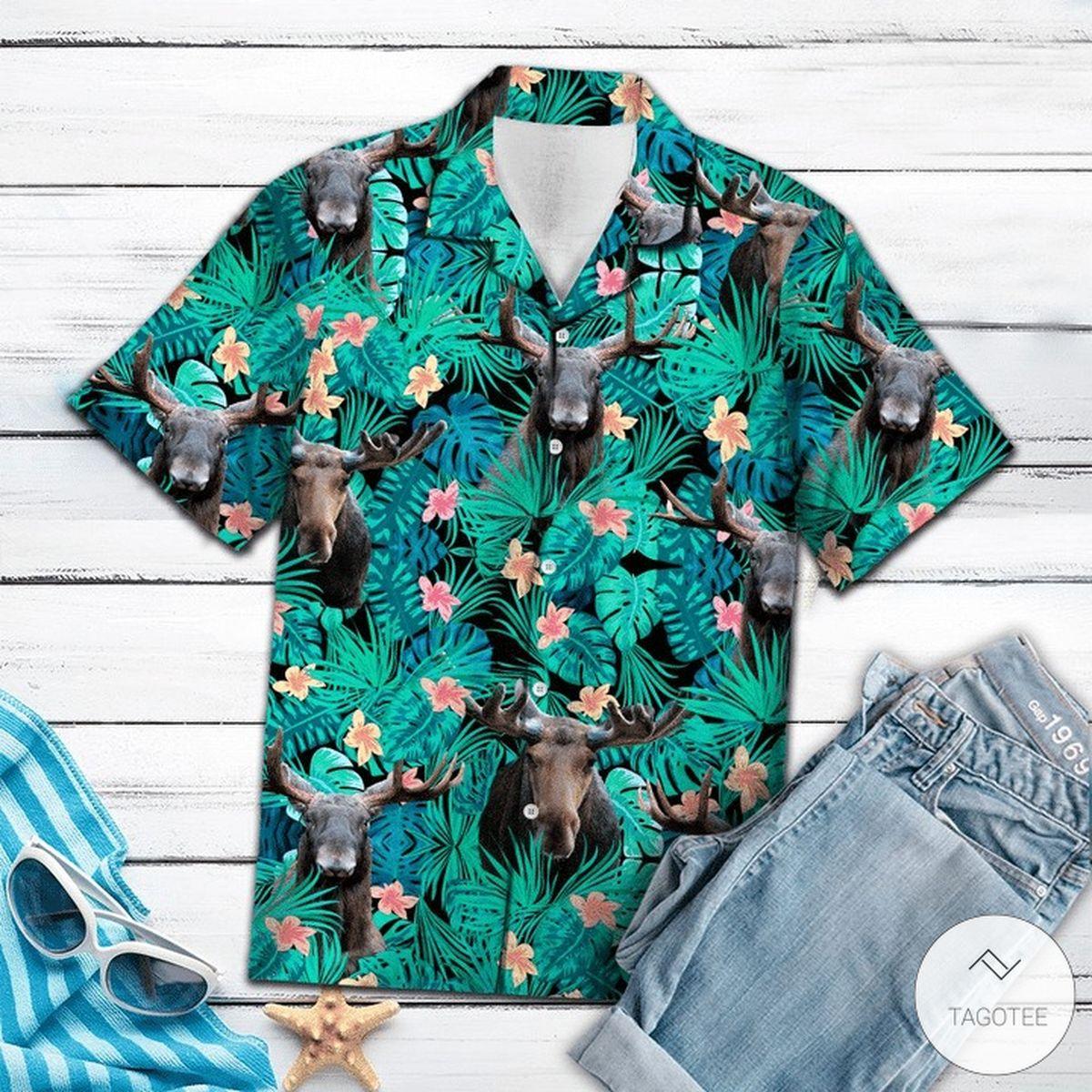 Moose Tropical Hawaiian Shirt