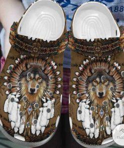 Native American Wolf Crocs Crocband Clog