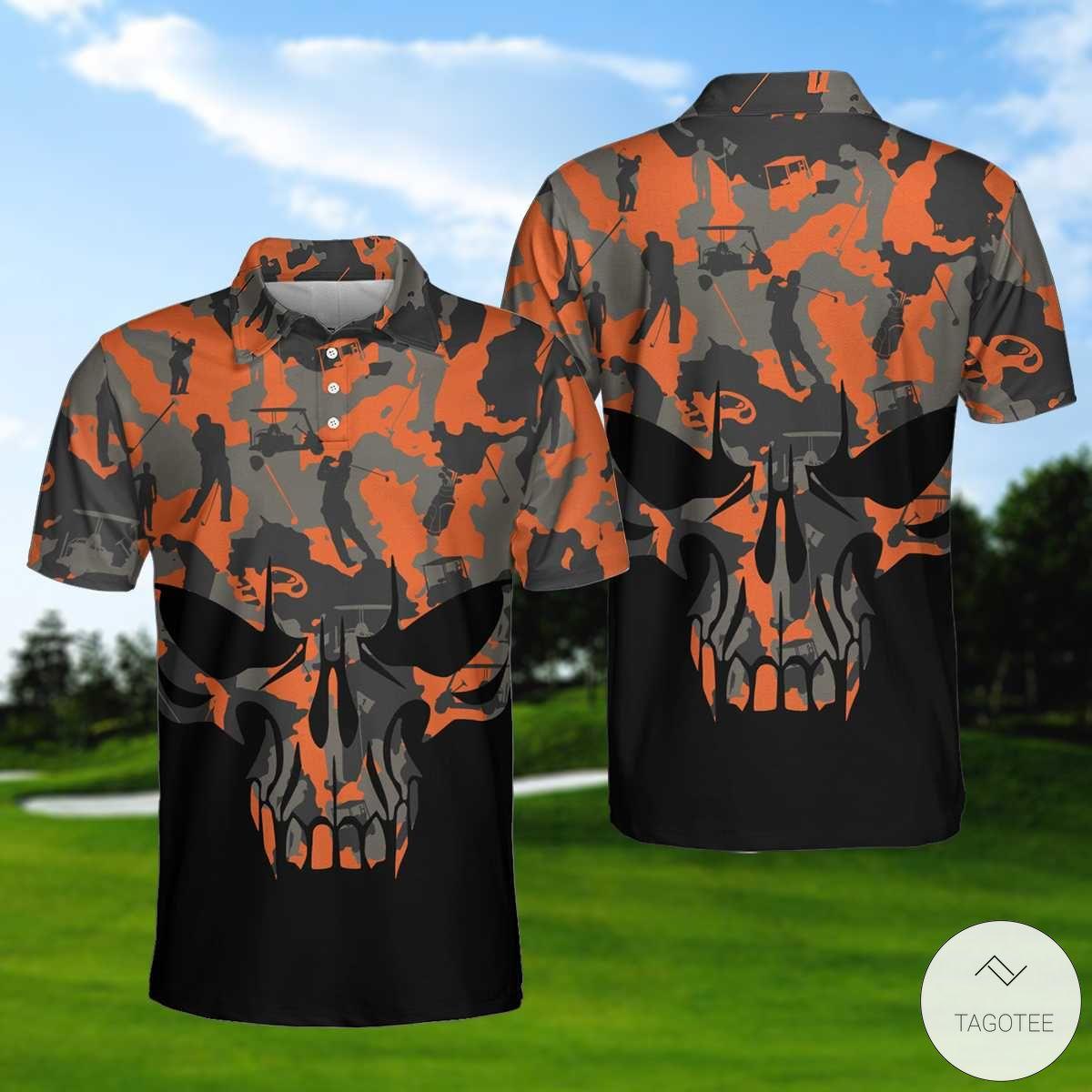 Orange Camouflage Golf Set Skull Golf Polo Shirtx