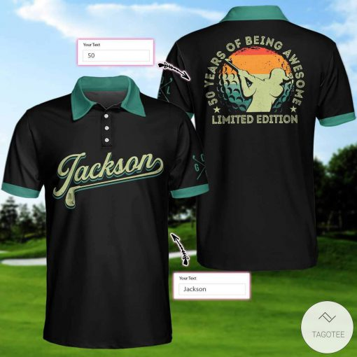 Personalized Awesome Golfer 50 Years Of Being Awesome Polo Shirt