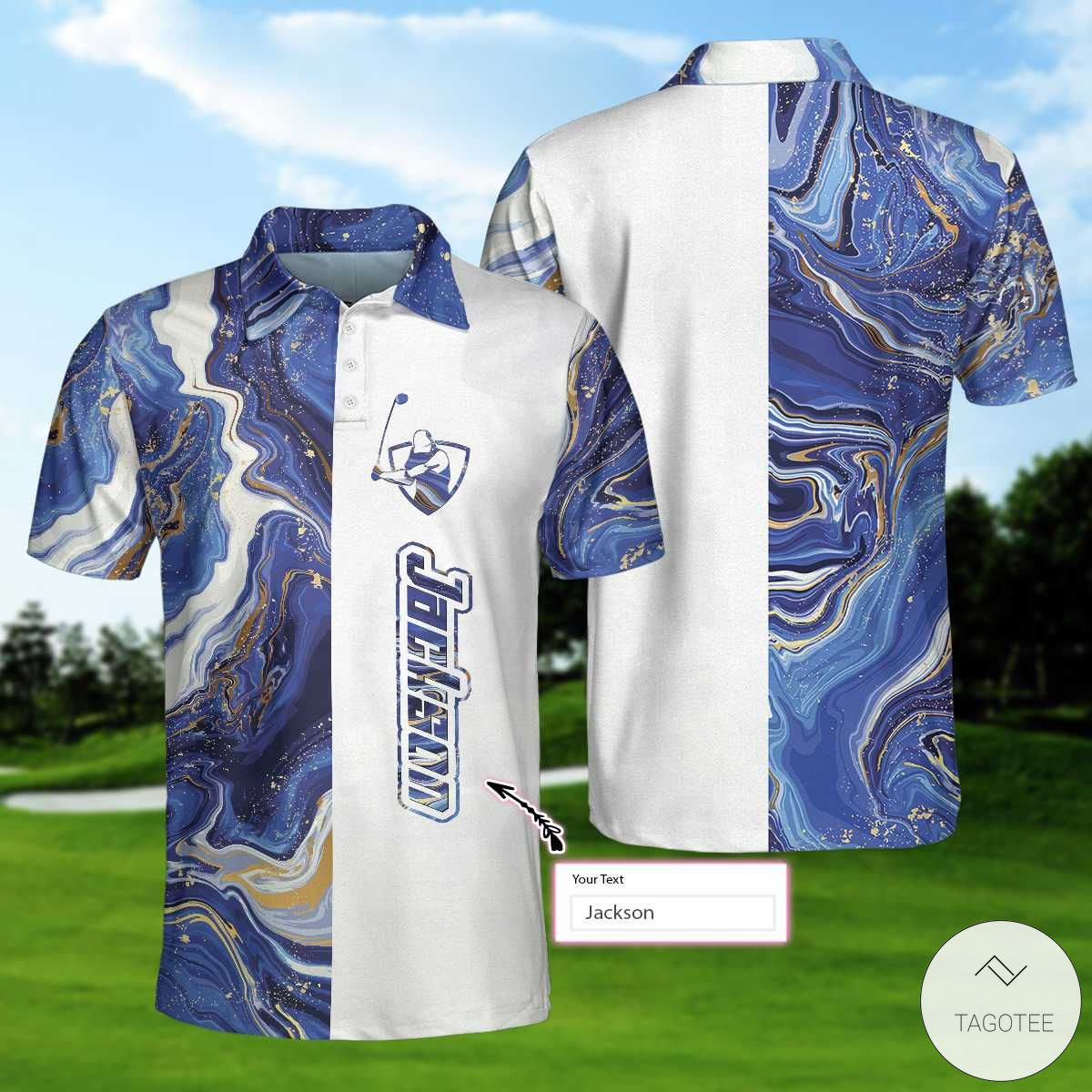 Personalized Blue Marble And Gold Golf Polo Shirtx