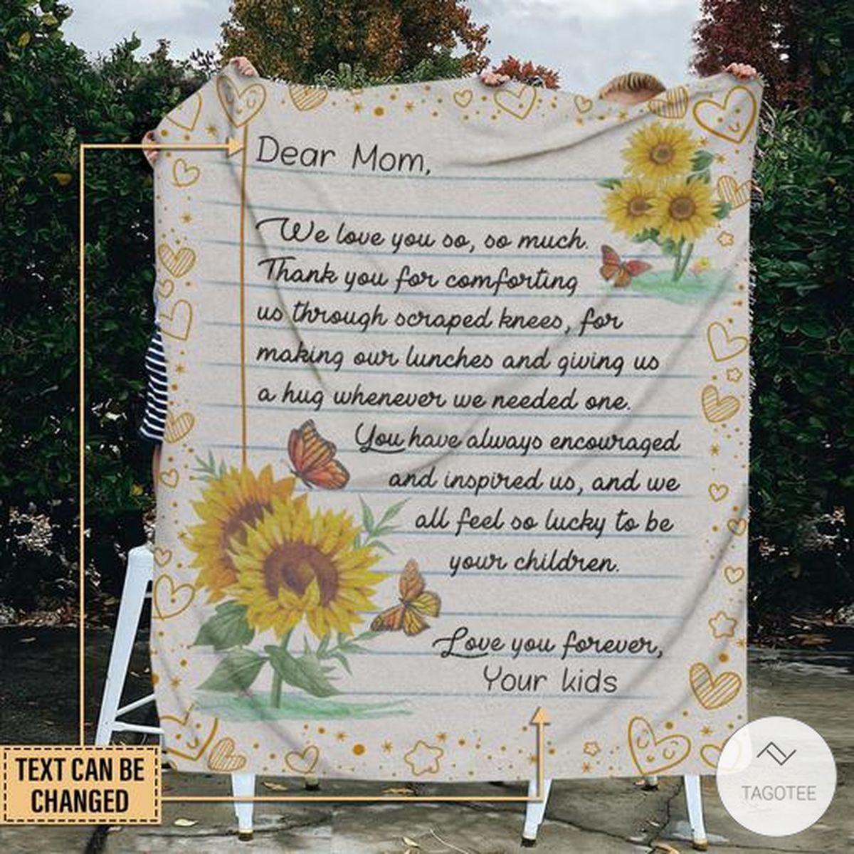 Personalized Butterfly Dear Mom We Love You So So Much Fleece Blanket