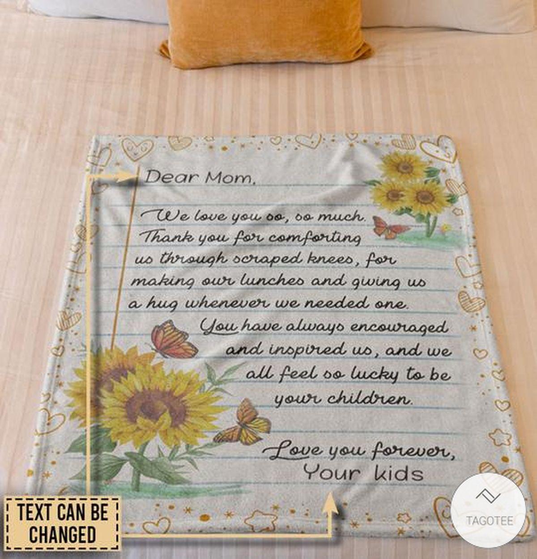 Personalized Butterfly Dear Mom We Love You So So Much Fleece Blanketz