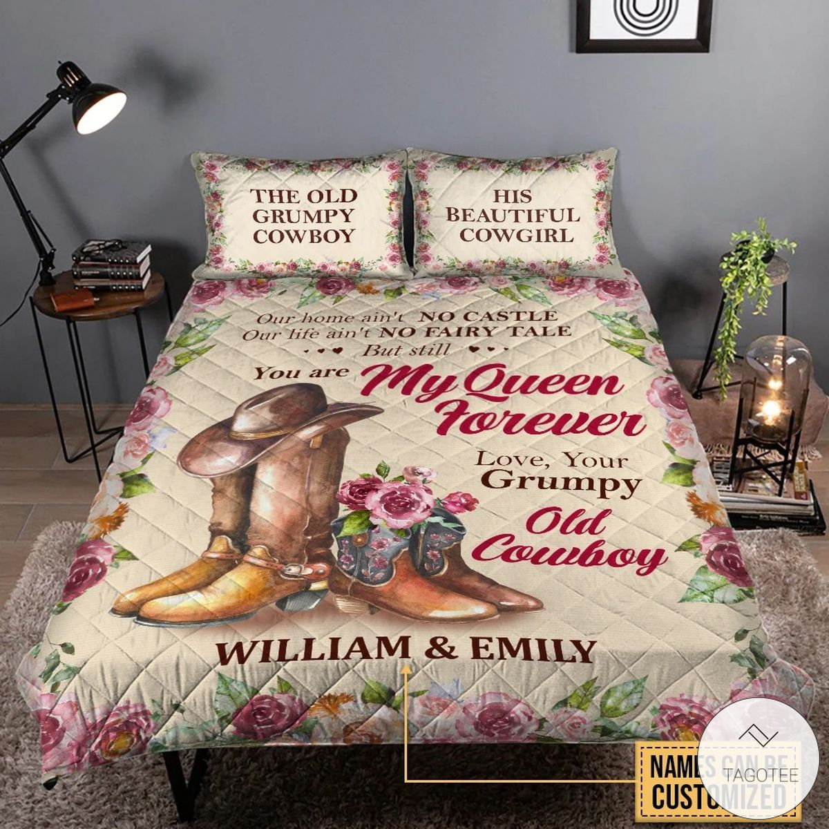 Personalized Cowboy Cowgirl Our Home Ain't No Castle You Are My Queen Floral Quilt Quilt Bedding