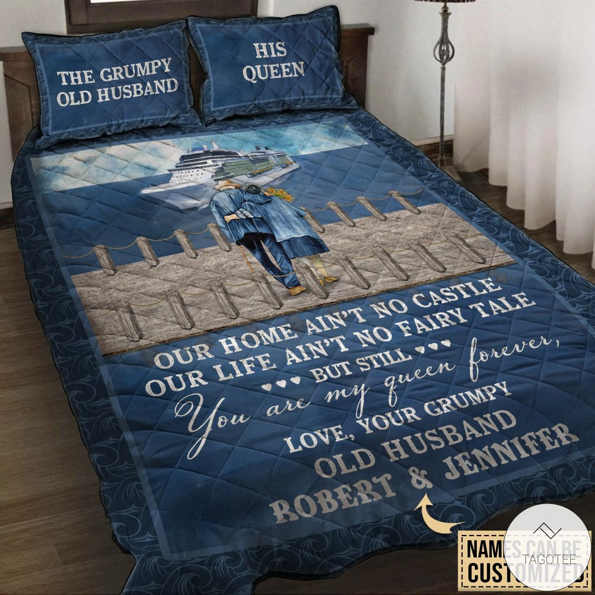Personalized Cruising Our Home Ain't No Castle Quilt Bedding Set