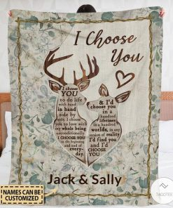 Personalized Deer I Choose You To Do Life With Hand Fleece Blanket