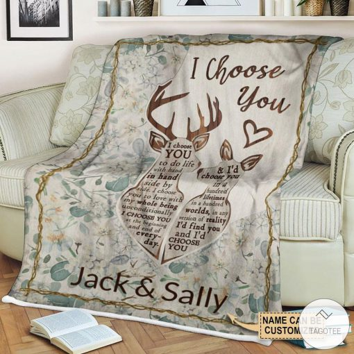 Personalized Deer I Choose You To Do Life With Hand Fleece Blanket c