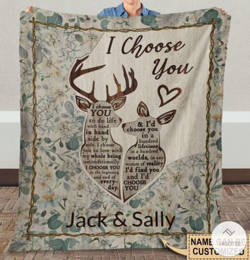 Personalized Deer I Choose You To Do Life With Hand Fleece Blanket x