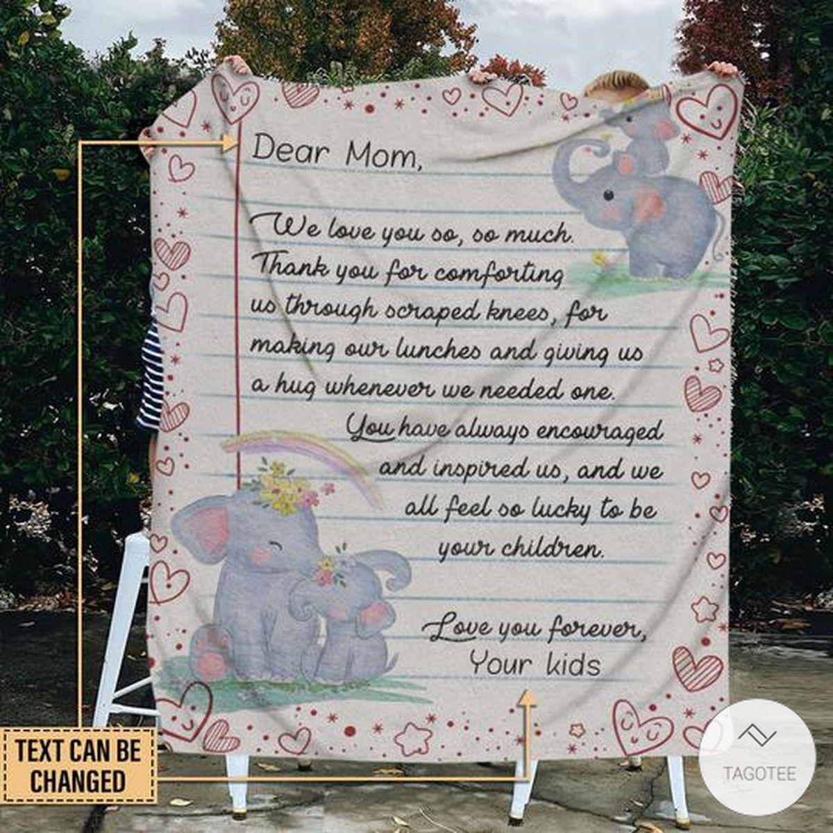 Personalized Elephant Dear Mom We Love You So So Much Fleece Blanket