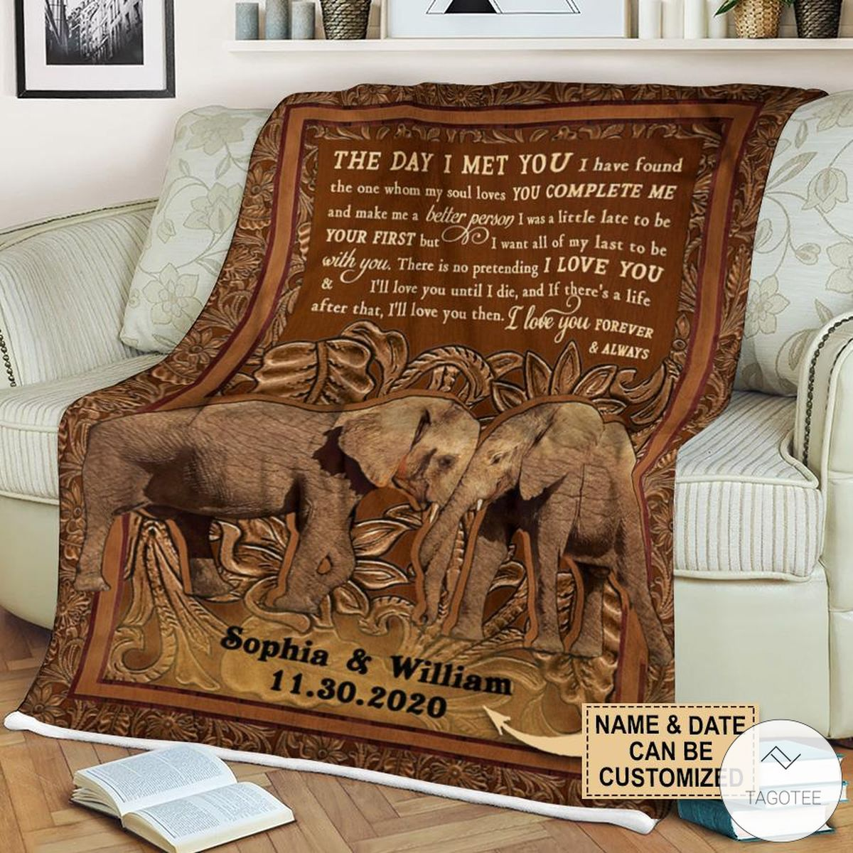 Personalized Elephant The Day I Met You I Have Found The One Whom My Soul Loves Fleece Blanket c
