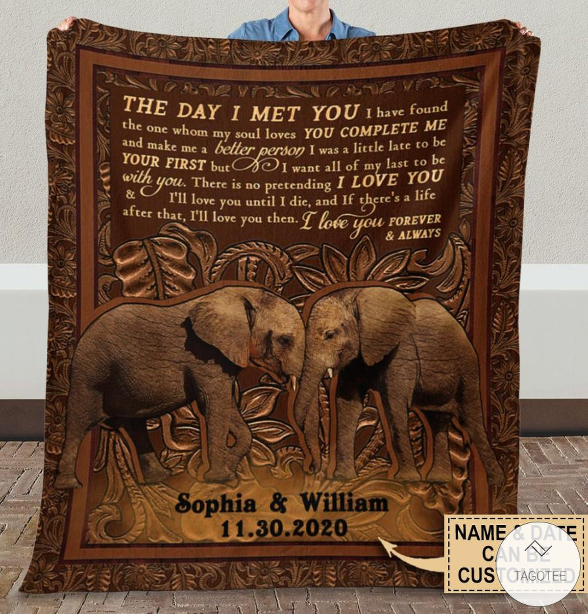 Personalized Elephant The Day I Met You I Have Found The One Whom My Soul Loves Fleece Blanket x
