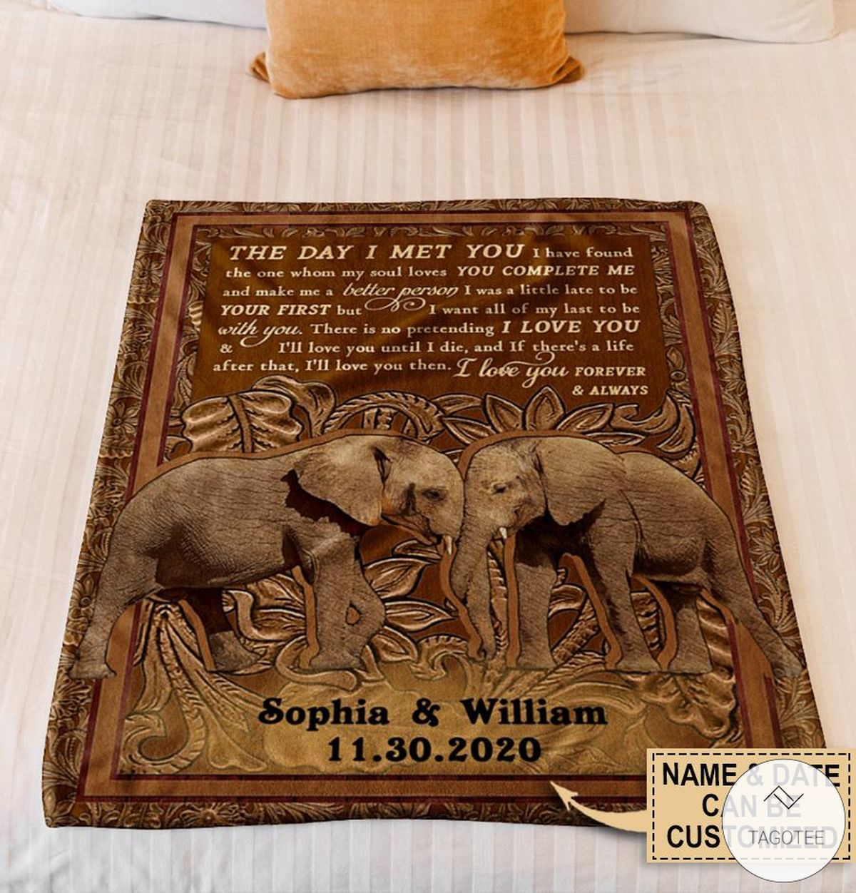 Personalized Elephant The Day I Met You I Have Found The One Whom My Soul Loves Fleece Blanket z