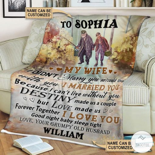 Personalized Fishing My Wife I Didn't Marry You So I Could Live Fleece Blanket c