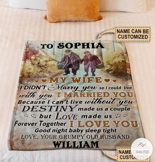 Personalized Fishing My Wife I Didn't Marry You So I Could Live Fleece Blanket z