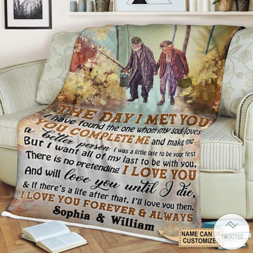 Personalized Fishing The Day I Met You I Have Found The One Whom My Soul Loves Fleece Blanket c