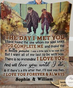 Personalized Fishing The Day I Met You I Have Found The One Whom My Soul Loves Fleece Blanket x