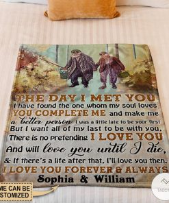 Personalized Fishing The Day I Met You I Have Found The One Whom My Soul Loves Fleece Blanket z