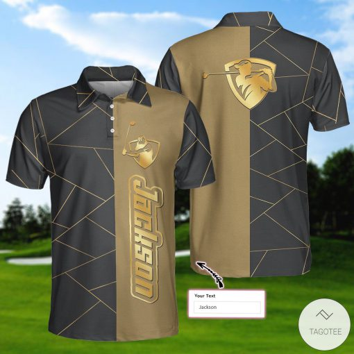 Personalized Golden Lines Golf Polo Shirtx