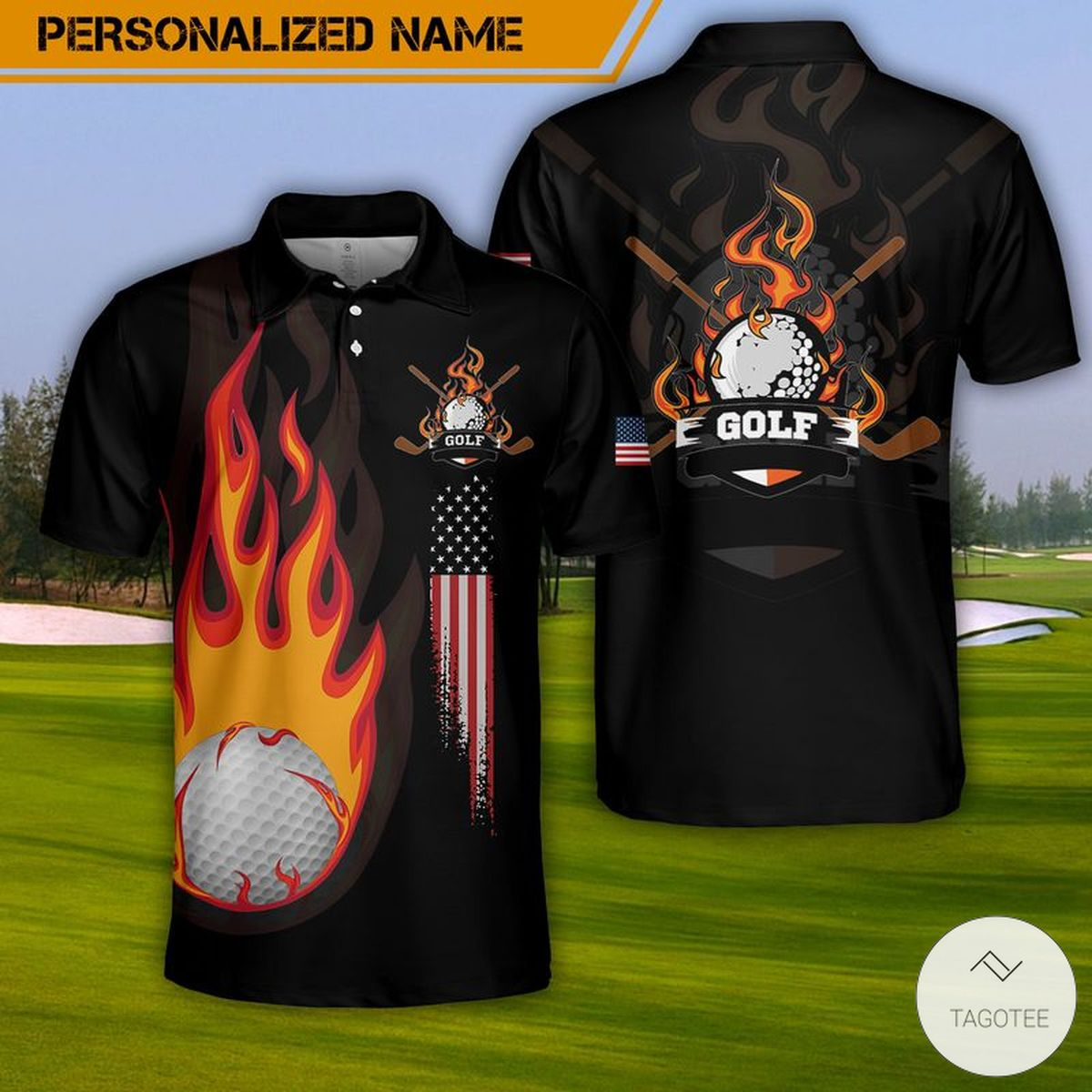 Personalized Golf Fire Polo Shirt