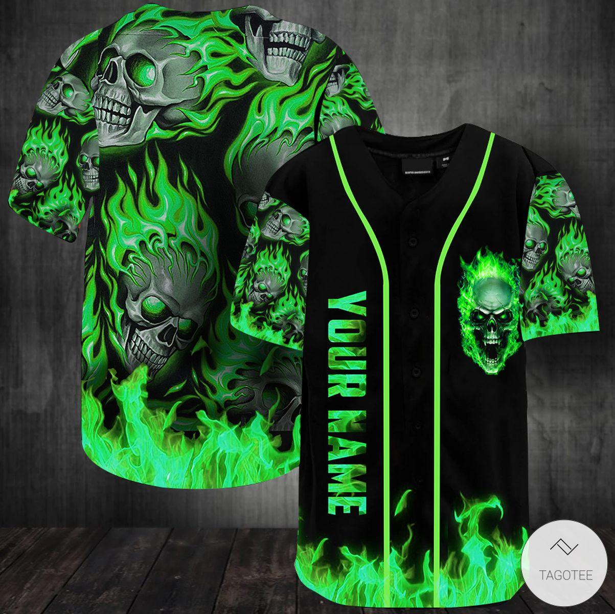 Personalized Green Fire Skull Baseball Jersey