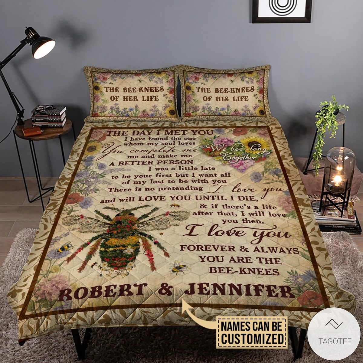 Personalized Honey Bee Knee Couple The Day I Met you Quilt Bedding Set