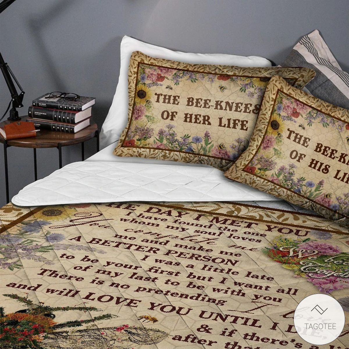 Personalized Honey Bee Knee Couple The Day I Met you Quilt Bedding Setc
