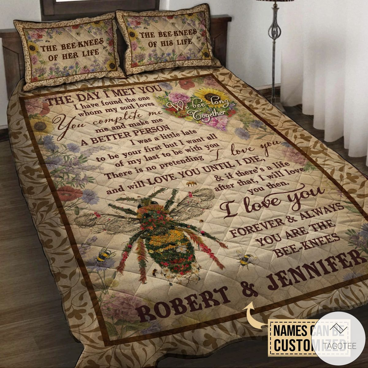 Personalized Honey Bee Knee Couple The Day I Met you Quilt Bedding Setx