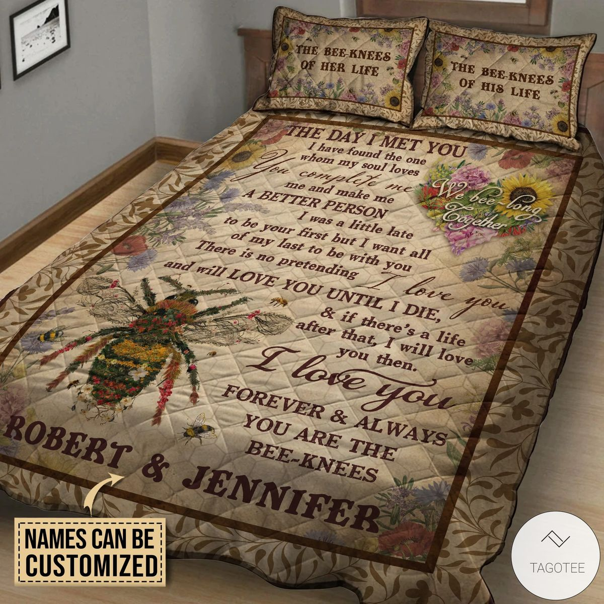 Personalized Honey Bee Knee Couple The Day I Met you Quilt Bedding Setz