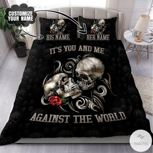 Personalized Name Couple Skull Art It's You And Me Against The World Bedding Set
