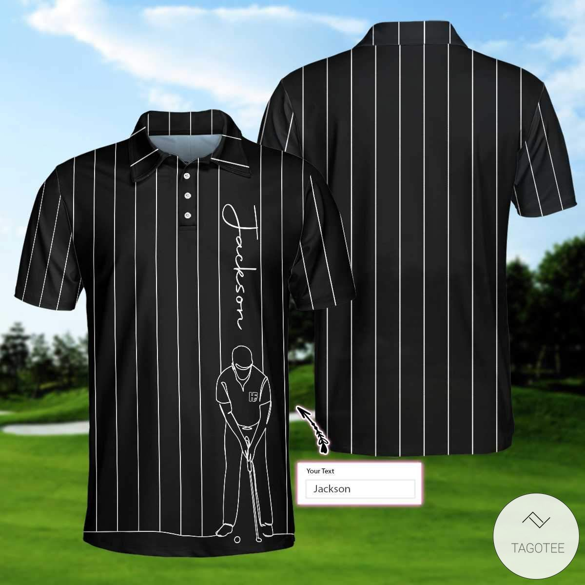 Personalized One Line Drawing Golfer Polo Shirtx