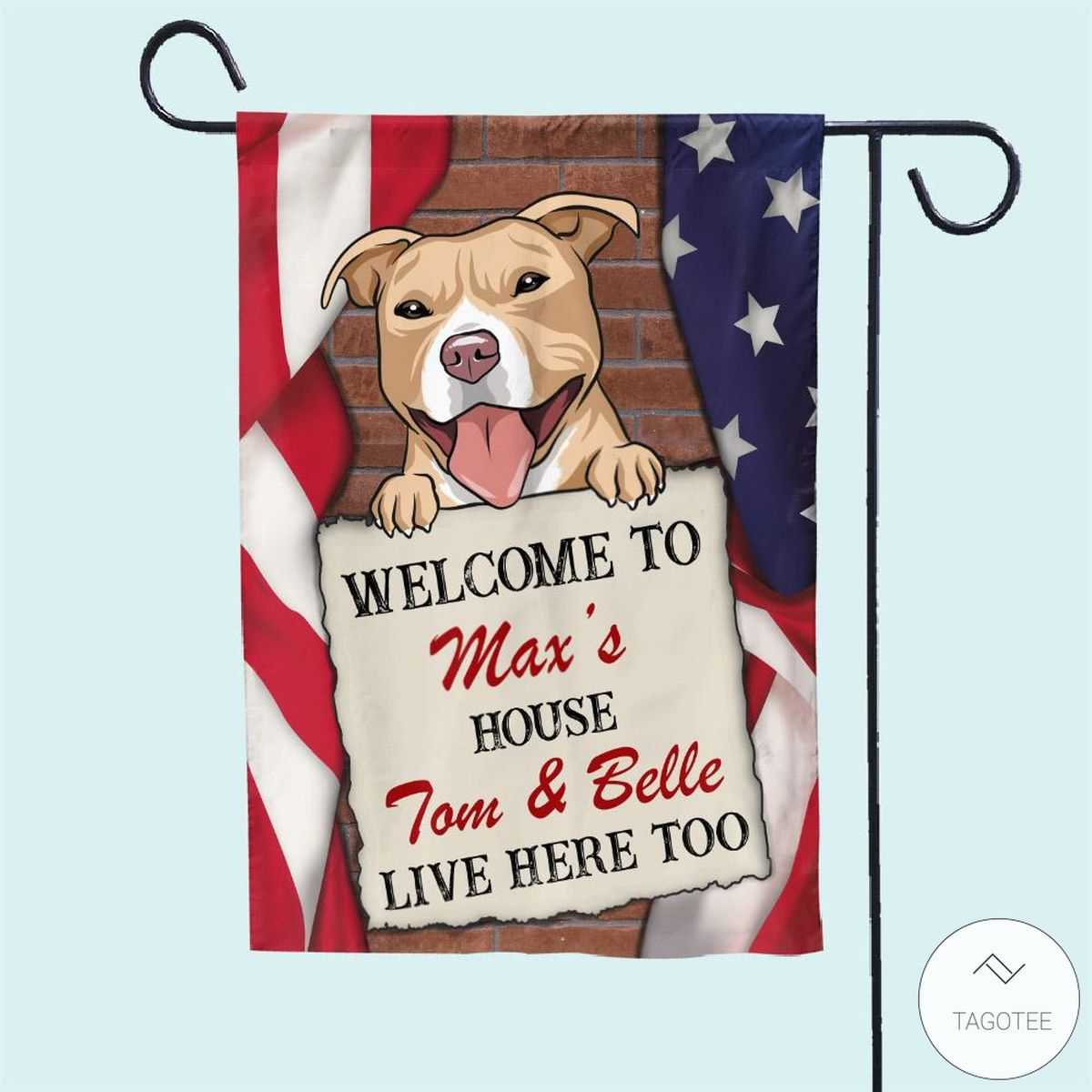 Personalized Pitbull Welcome To House Flag