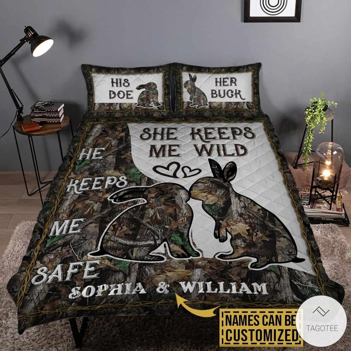 Personalized Rabbit Couple He Keeps Me Safe She Keeps Me Wild Quilt Camo Bedding Set