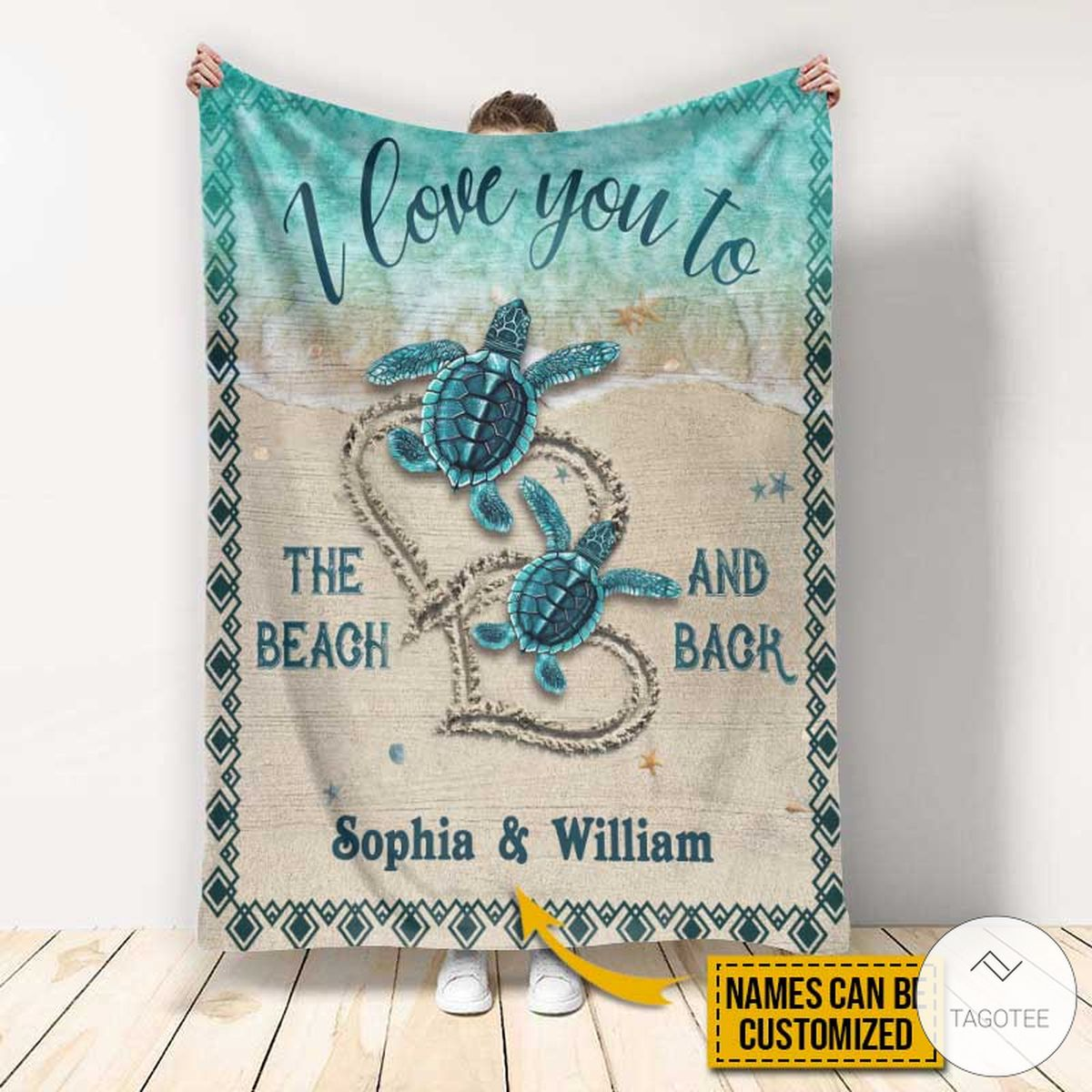 Personalized Sea Turtle I Love You To The Beach And Back Fleece Blanket