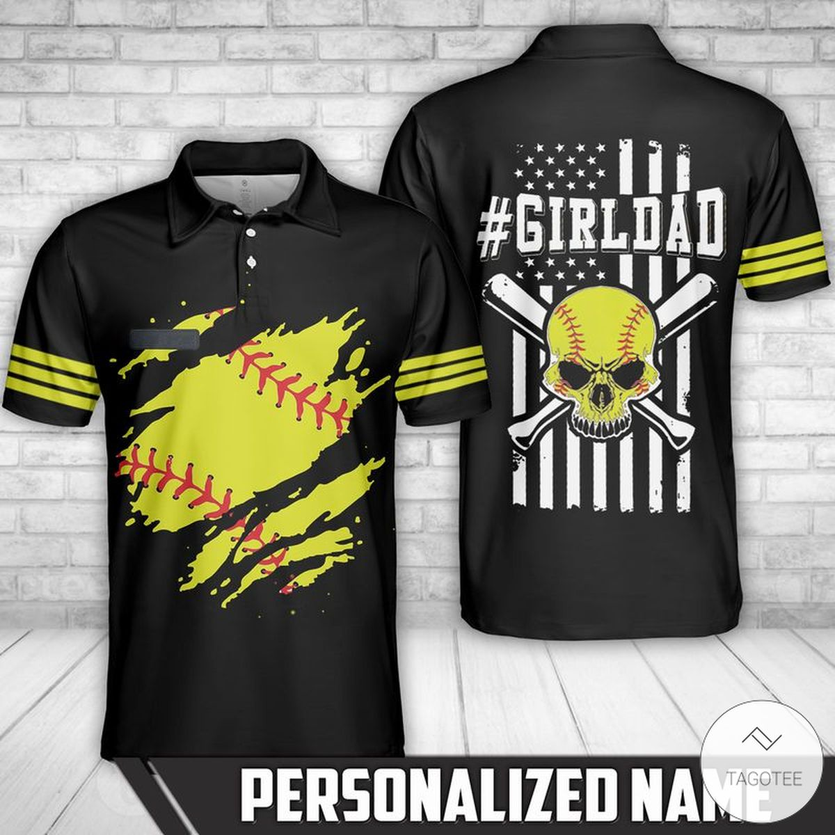 Personalized Softball Girl Dad Polo Shirt