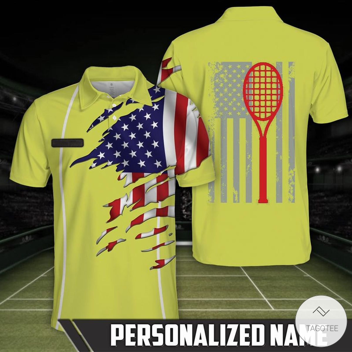 Personalized Tennis Flag Polo Shirt