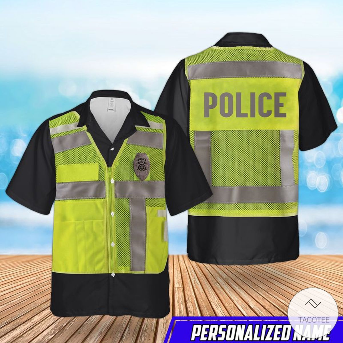 Personalized Us Police High Visibility Identification Vest Hawaiian Shirt