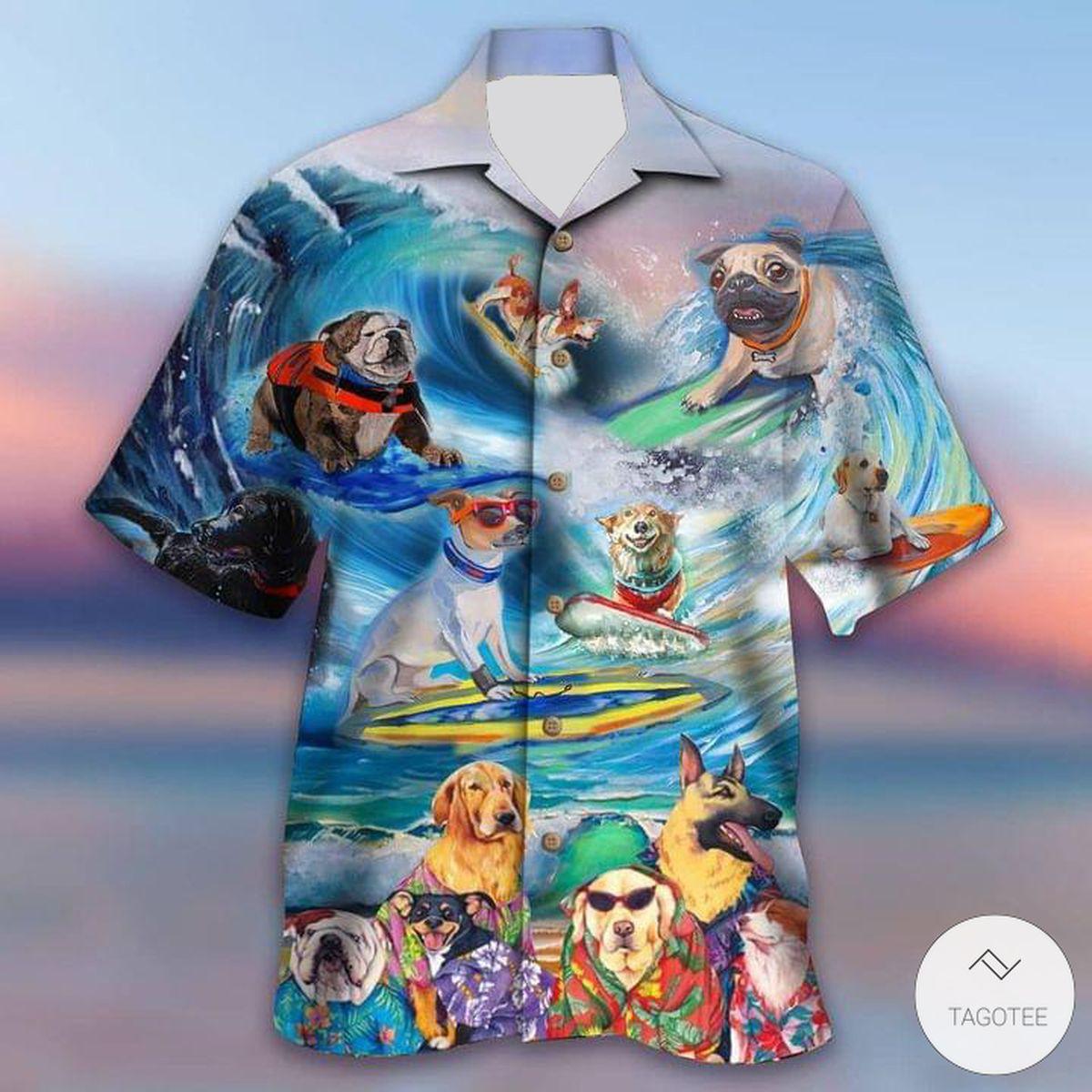 Puppies Surfing By The Beach Hawaiian Shirt