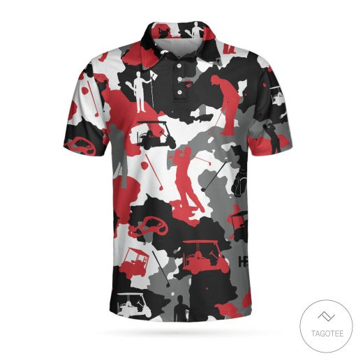 Red And White Camouflage Golf Polo Shirt