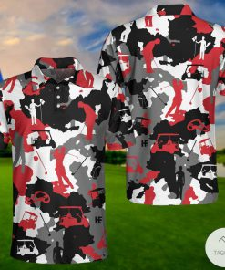 Red And White Camouflage Golf Polo Shirtx