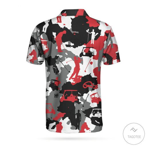 Red And White Camouflage Golf Polo Shirtz