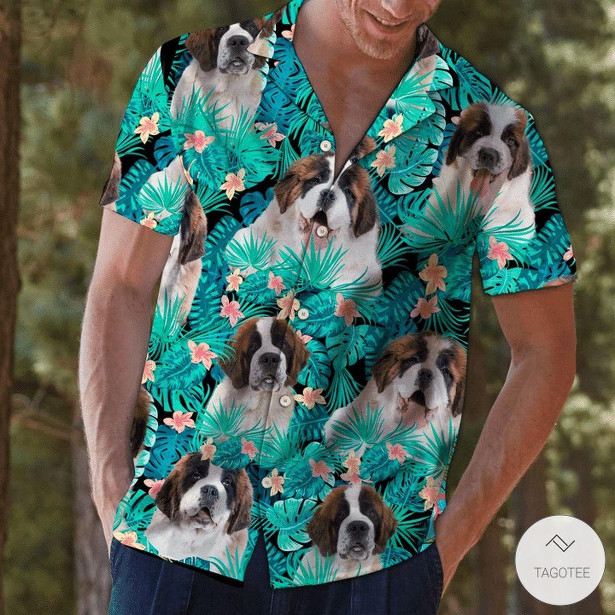 Saint Bernard Tropical Hawaiian Shirt