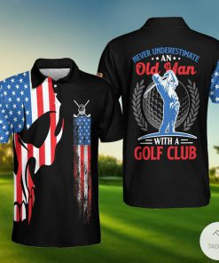 Skull Golf With American Flag Old Man Polo Shirtx