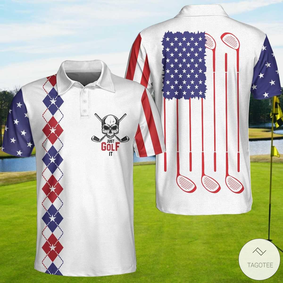Skull Just Golf It Polo Shirtx
