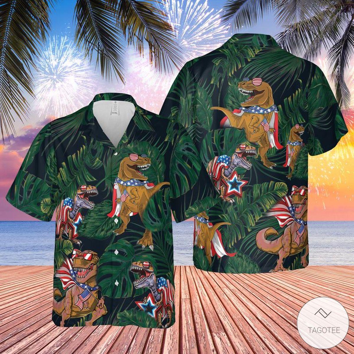 T-rex 4t July Hawaiian Shirt