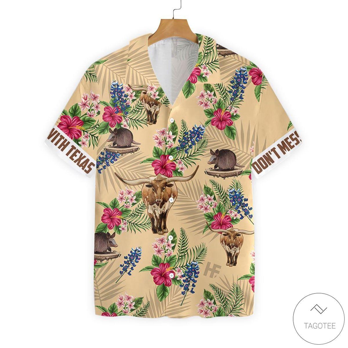 Texas Insignia Proud Button Hawaiian Shirt