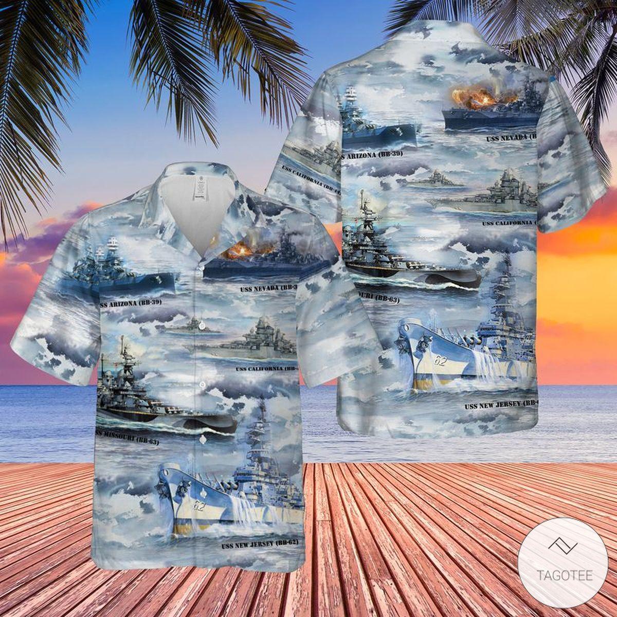 The Naval Battleships Of World War II US Navy Hawaiian Shirt